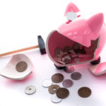 豚の貯金箱を叩き割ったら小銭しか入っていなかった